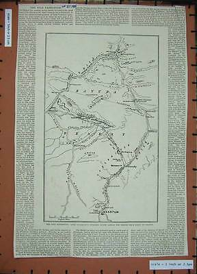 Antique Print 1885 Nile Expedition Lord Wolseley Desert Map Shendy 122N306