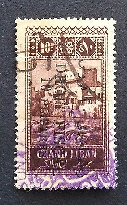 Rare Lebanon Liban Stamp O/P 10PS Revenue Fiscal Used Has Some Wrinkles (AO45)
