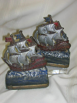 Vintage Cast Iron Ship Bookends Orignal Color Tall Ship Sailing Ships