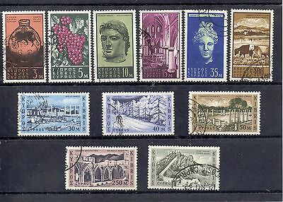 CYPRUS 1962 SG 211 to 214 + 223 + 216 to 221 VFU Cat £35.00