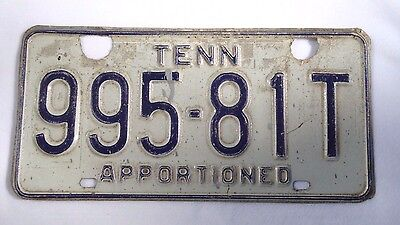 TENNESSEE APPORTIONED Vintage License Plate #995-81T