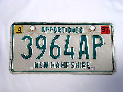 1997 NEW HAMPSHIRE APPORTIONED Vintage License Plate #3964AP