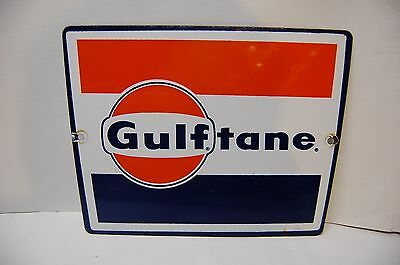 "Vintage Original Gulftane Gulf Porcelain Gas Pump Plate Sign, 11.5"" x 8.5"""
