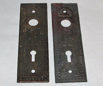 (2) Ornate Victorian Cast Iron Door Knob Back Plates w/Key Holes