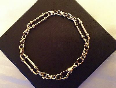 Beautiful Solid Albert 9ct Yellow Gold Watch Chain Bracelet 8 inches