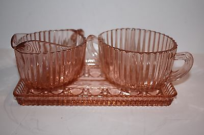 Set of Pink Depression Glass Sugar and Creamer with Tray