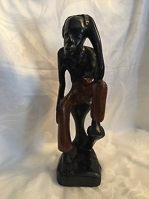 "Very Large AFRICAN MAN Hand Carved Dark Wooden Wood SCULPTURE 17"" Figure Statue"