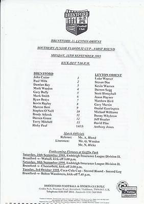 Brentford Home Reserves v Leyton Orient Reserves Football Programme 1995/96