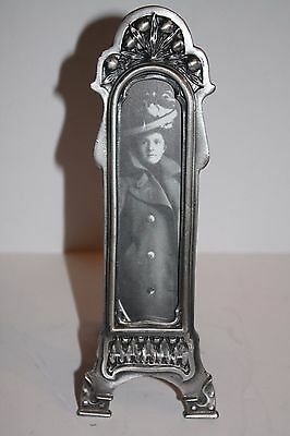 Vintage Long Thin Pewter Portrait Easel Photo Frame