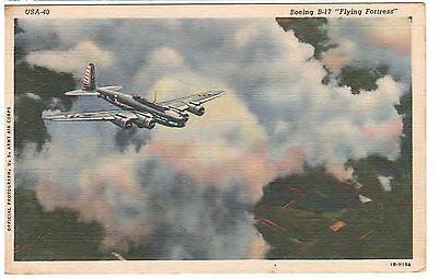 Ww2 Bomber A Boeing B-17 Airplane Flying Fortress United States 1941 Postcard