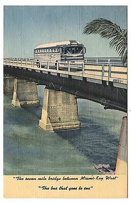Greyhound Bus Lines To Key West Florida - The Overseas Highway 1949 Postcard