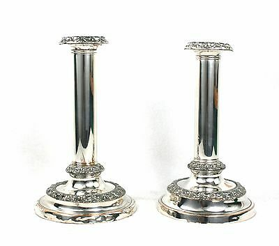 Antique Silver Plated Candlesticks Georgian Style Old Sheffield Plate c.1840