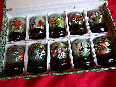 Jade Eggs 1.5 Inch Set of 10 hand painted boxed birds with flowers