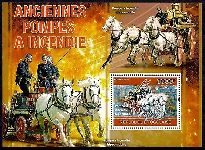 Togo 2010 Old Fire Pumps Emergency Rescue Firemen Transport History Horses MNH