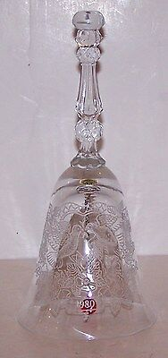 Stunning Signed 1980 Fostoria Glass/crystal Etched Doves Hearts Flowers Bell