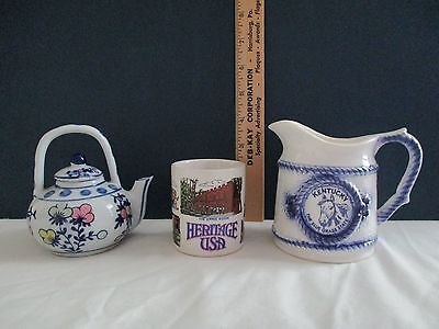 Lot of 3 includes: SOUVENIR KENTUCKY MINI PITCHER, HERITAGE USA MINI MUG