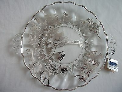 Vintage 25th Anniversary Crystal Plate Janice Sterling Silver Overlay RARE