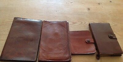 JOB LOT VINTAGE Bi Fold BROWN REAL LEATHER WALLETS Pre-Decimalisation & 1 Other