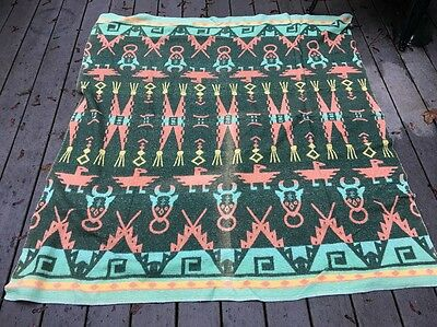 Vintage Cotton Cabin Camp Native American Theme Blanket Reversible