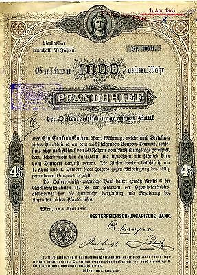 Lot of x5 Five Austria 1893 Pfandbrief 1000 Gulden Share Certificates