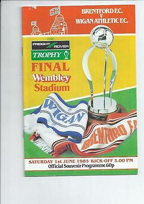 Brentford v Wigan Athletic Freight Rover Trophy Final Football Programme 1985