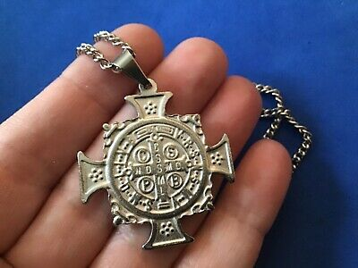 """Rare St BENEDICT NECKLACE Pendant Protection Saint Medal Stainless Steel 30"""""""