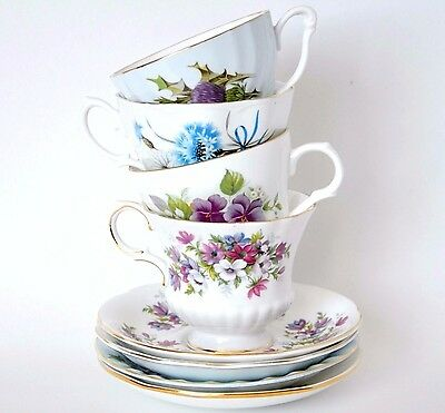 4 tea sets tea cup saucer Queen Anne Royal Albert Paragon flower festival Sadler