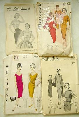 Vintage SEWING PATTERNS 50s 60s All CHECKED Sheath WIGGLE DRESS Blouse SKIRT B