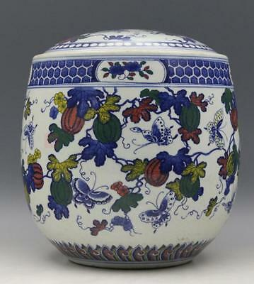 chinese old Blue and white porcelain sculpture butterfly and fruit Tea cover pot