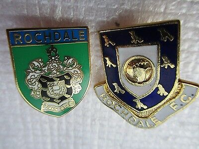 2 x OLD..ROCHDALE FOOTBALL CLUB..ENAMEL PIN BADGES..GOOD COLLECTION LOT