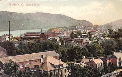 Wellsville Ohio Birdseye View Looking West Old Postcard
