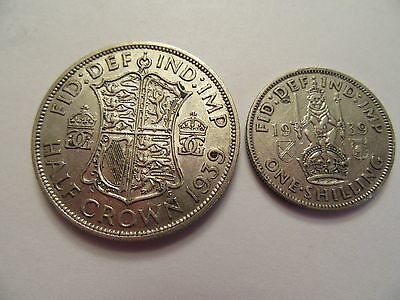 TWO 1939 Great Britain Silver Coins, 1 Shilling, 1 1/2 Crown