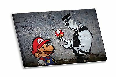Banksy Street Graffiti Super Mario Gallery Stretched HD Canvas Giclee Wall Art