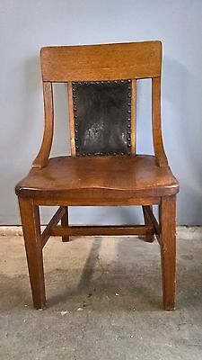 Vintage Oak wood chair, black leather inserts B L Marble Co. Updated Please Read