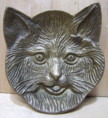 Vintage Brass Figural Cats Head Trinket Tray card tip coin knick knack kitty kat