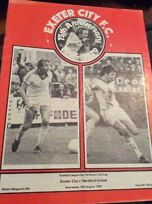Exeter City v Hereford United 1979/80 League Cup Programme