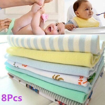 8Pcs/Pack 100% Cotton Newborn Baby Towels Toalha Nursing Girls Washcloth