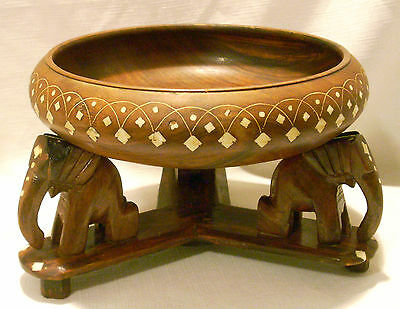 Vtg CARVED WOOD BOWL w/ INLAY ELEPHANT BASE CENTERPIECE Made in Africa Elephants