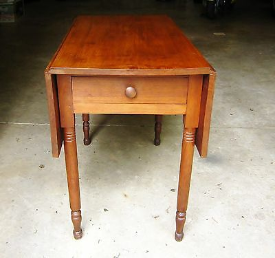 Early Pennsylvania Cherry Drop Leaf Table Dovetailed Drawer One Board Top