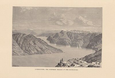 Lyster-Fjord,  the Northern Branch of the Sogne-Fjord, Holzstich um 1890, Blattg