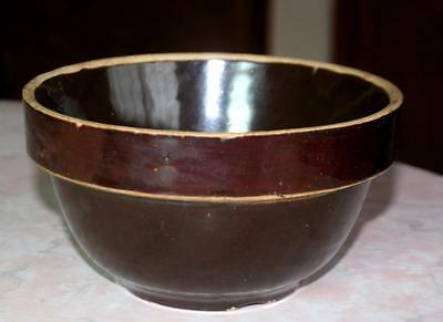 "Vtg 7"" Mixing Bowl Brown Glazed Stoneware Pottery Vintage Primitive Colonial Rim"