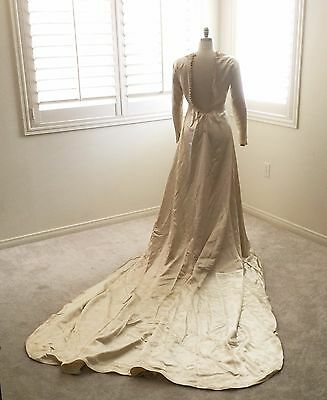 Wedding Dress Antique 1930s Ivory Satin Buttoned Sleeves & Cuff Long Train AS IS