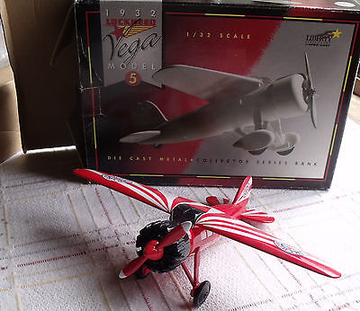 Red Crown Gasoline 1/32 Lockheed Vega Airplane Bank  Mint in Box
