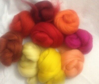 300g Merino Wool Roving mixed colour pack 30 x 10g felting wool  FREE Post