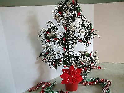 """VTG.,ANTIQUE CHRISTMAS TREE~JAPAN UNUSUAL STYLE~15"""" TALL~millinery berries,leave"""