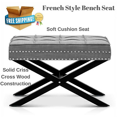French Style Bench Seat Ottoman Footstool Silver Studs Grey Hallway Room Lounge