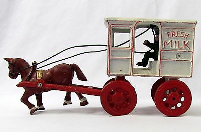 Vtg Original Cast Iron Horse Drawn Wagon Fresh Milk Carriage with Driver