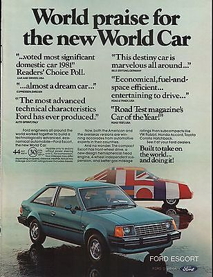 1981 Ford Escort Blue Built To Take On The World Doing It Vintage Print Ad