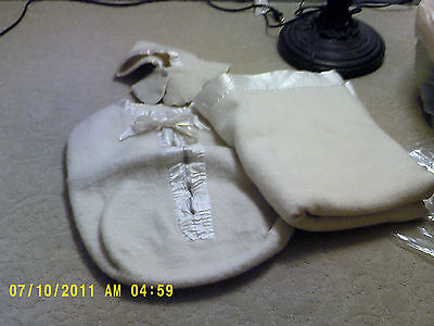 Vtg lot 1950's Baby bunting set ivory wool zipper bag hat & blanket satin trim