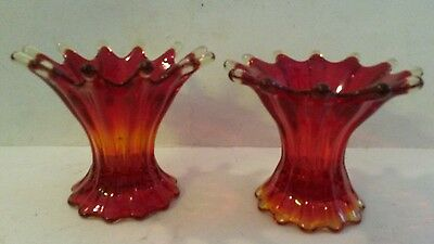 Vintage Handmade Amberina Fostoria Glass Heirloom Candlestick Holders Red Ruby